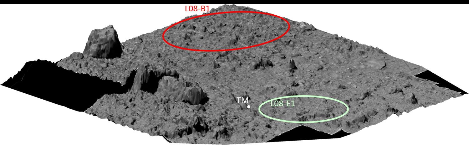 「はやぶさ2」タッチダウン候補地点付近のDEM(Digital Elevation Map、白黒)