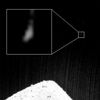 小惑星探査機「はやぶさ2」の記者説明会(2019/4/11) 分離カメラ(DCAM3)による撮影デジタル系による画像 上記の画像を拡大し明るさを調整した画像